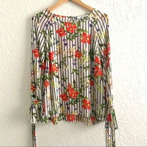 Rose + Olive Floral Striped Tie Sleeve Top